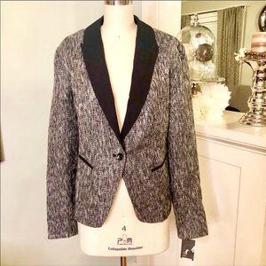 Mossimo Black White Tweed One Button Blazer Jacket